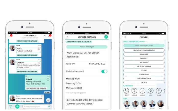 Abb.: bundle App-Screens: Chatansicht, Umfrage, Übersicht