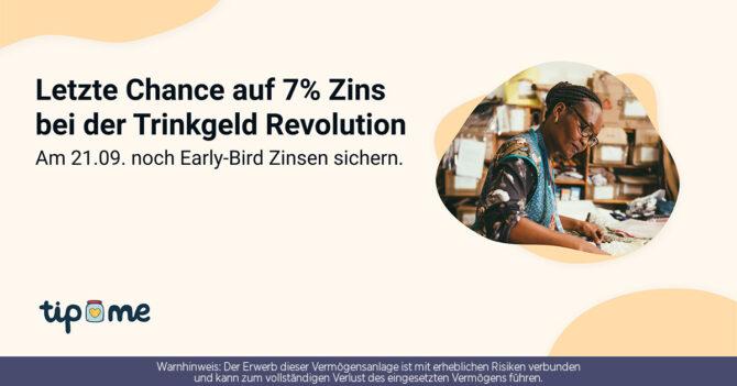7% Zins bei der Trinkgeld Revolution mit der Investment Plattform von CONDA.
