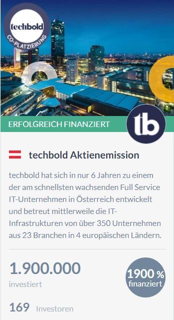 Aktien-Eigenemission von techbold mit CONDA White Label.